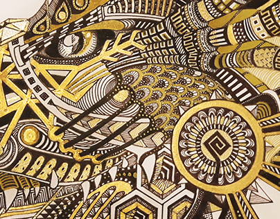 Black&Gold Pencil Dragon