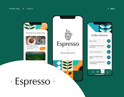 Mobile app UI/UX Espresso