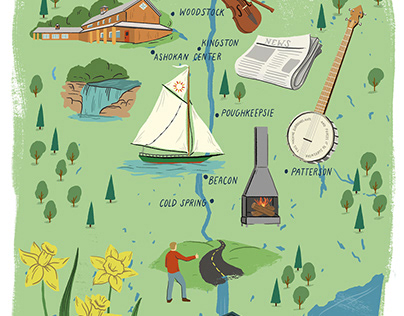 Pete Seeger Illustrated Map for No Depression Magazine