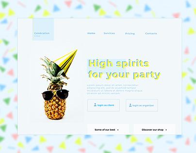 UI UX Landing page concept Party service
