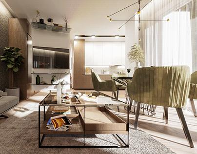 Virtuvės ir svetainės zonų vizualizacija.