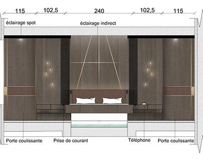 Chambre d'hôtel : Coupes technique et plan