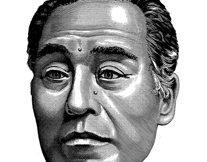 Line drawing of human face