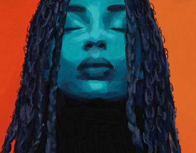 Woman under blue light