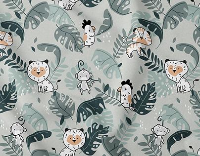 Mint Tropics - vector textile pattern design for kids