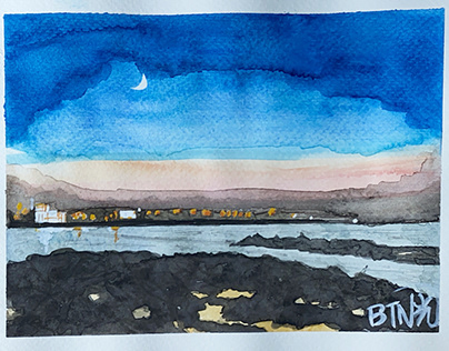 Hamdeok beach in Jeju island - Watercolor on Wednesday