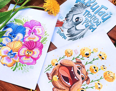 Funny characters for summer postcards
