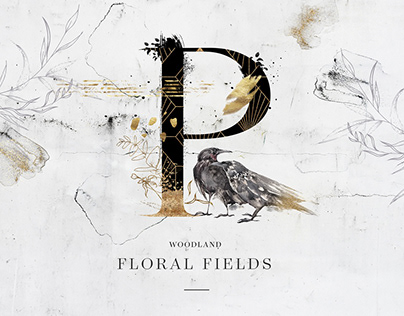 Floral Fields. Alphabet & graphics