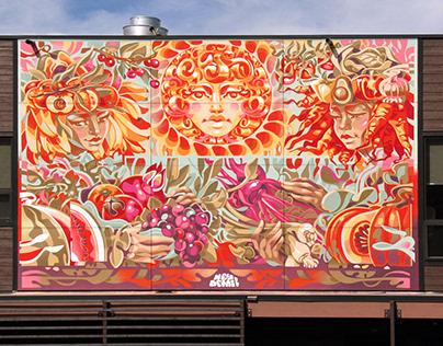 """Goddess of harvest"" mural in Bellevue, ID"