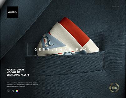 Pocket Square Mockup Set (Gentleman Pack /3)