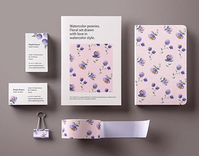 Feminine branding design |Watercolorflowers (peonies)