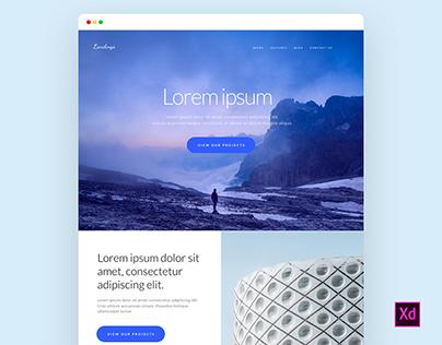Freebie - Start-up Landing Page for Adobe Xd