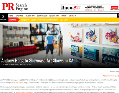 Andrew Haag to Showcase Art Shows in CA