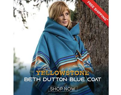 Yellowstone Beth Dutton Blue Blanket Coat Womens