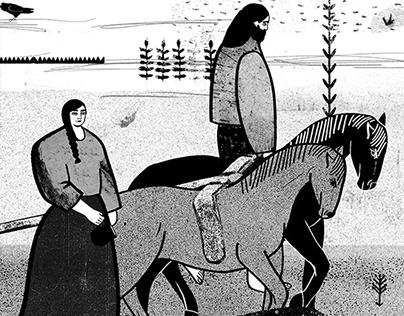 Various black&white illustrations