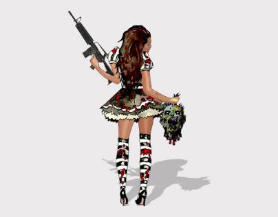 GAME CHARACTER DESIGN & UI: Lady Artemis