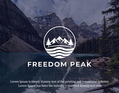 Freedom peak Adventure Mountain River logo design