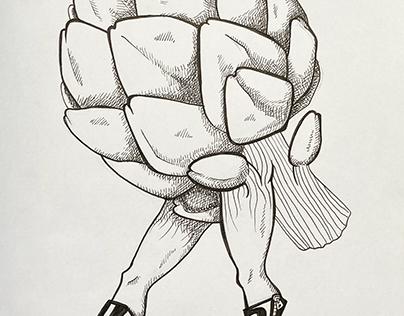 Artichoke with Fancy Shoes