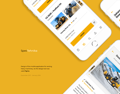 Mobile app design - heavy machinery for rent