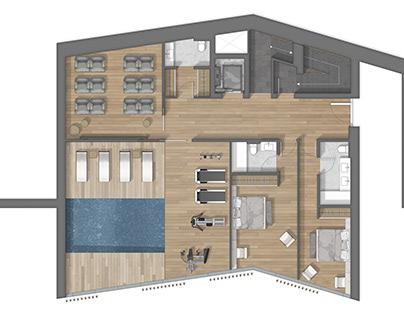 Floor plan 2D rendering in Andorra
