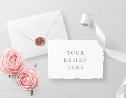 FREE PSD WEDDING INVITATION CARD & ENVELOPE MOCKUPS