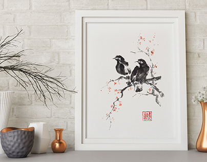 Two crows ink painting