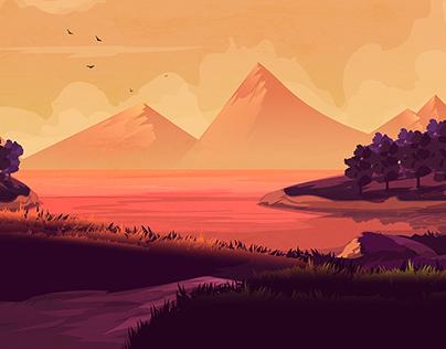 Illustration of Night Landscape