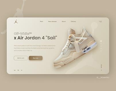 Off-White x Air Jordan 4 | первый экран сайта
