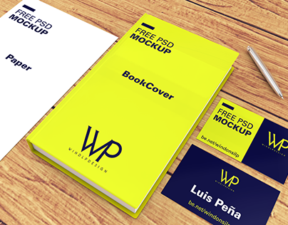 Free PSD Mockup / book, cards & paper