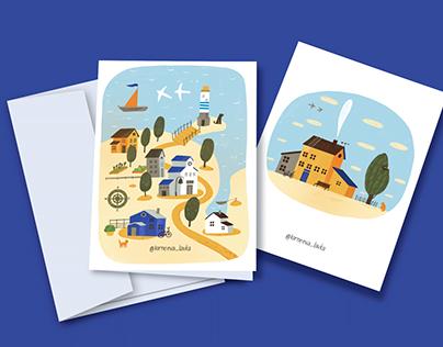 Illustrated postcards for a handmade workshop
