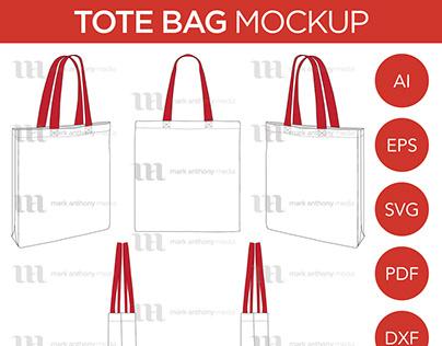 Tote Bag - Mockup & Template Vector