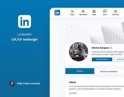 LinkedIn Redesign. Free Figma Source. UX/UI.
