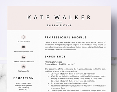 Professional resume template for Pages and Ms Word