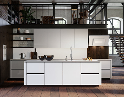 Minimalistic and spacious kitchen's 3D visualization
