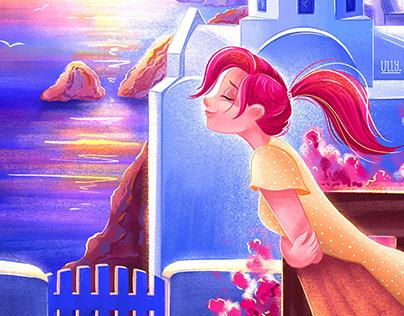 Girl's sweet travel memories illustrations