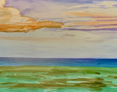 Clouds and Landscape painting on paper.