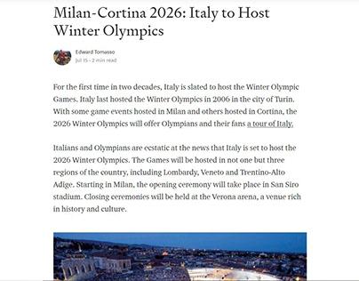 Italy to Host Winter Olympics (Medium blog post)