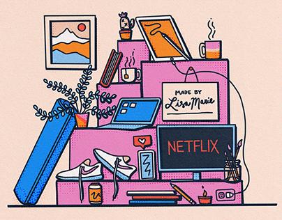 """Work From Home Essentials"" Illustration"