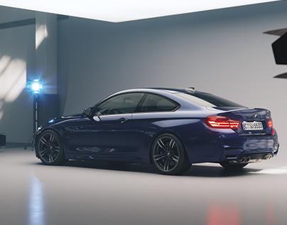 Rendering BMW M4 in studio.