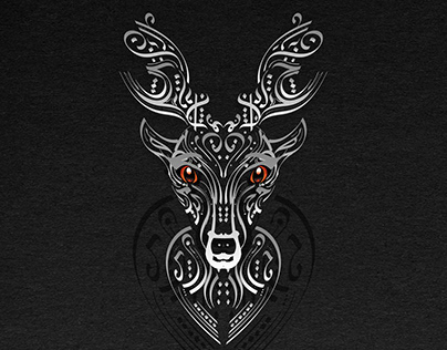 Deer logo with Arabic letters calligraphy