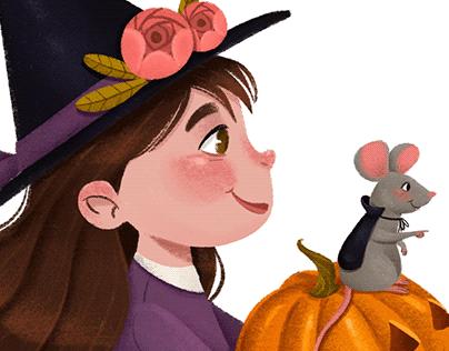 Ilustração Bruxinha Halloween