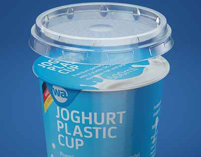 Yoghurt Plastic Cup 500ml 3D model pack