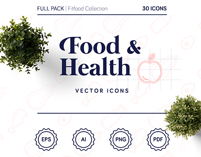 Fitfood Icons Set - Food & Health Pack
