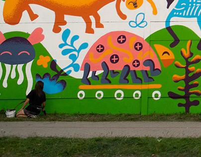 Community mural in Tarnów