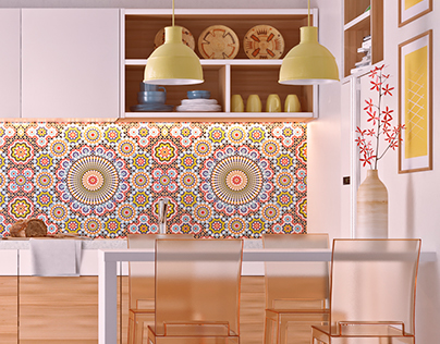kitchen with moroccan pattern