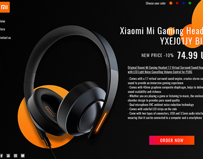Homepage Design of Xiaomi Gaming Headset