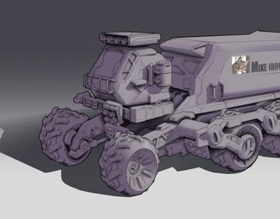 手绘技法梳理全地形运输车