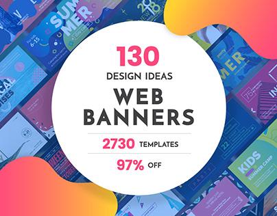 130 in 1 Web Banner Design Templates Bundle