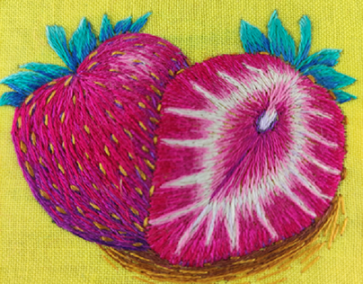 Hand embroidered strawberries
