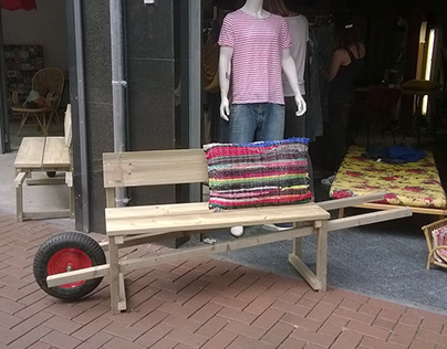 Wheel barrel bench